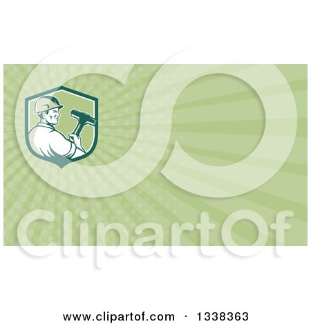 Clipart of a Retro Male Demolition Worker Holding a Sledgehammer in a Shield and Green Rays Background or Business Card Design - Royalty Free Illustration by patrimonio