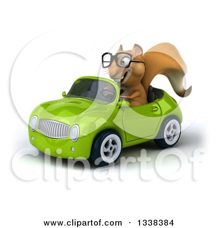 Clipart of a 3d Bespectacled Squirrel Driving a Green Convertible Car 3 - Royalty Free Illustration by Julos