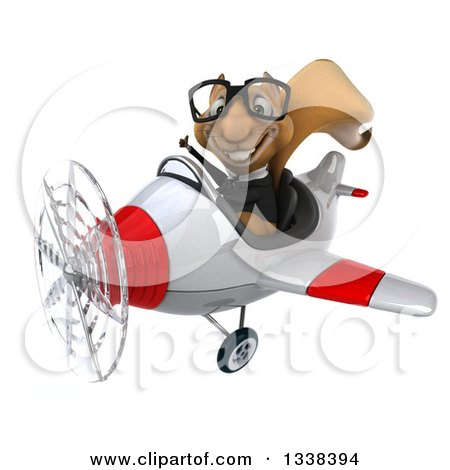 Clipart of a 3d Bespectacled Aviator Business Squirrel Giving a Thumb up and Flying a Red and White Airplane - Royalty Free Illustration by Julos