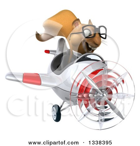 Clipart of a 3d Bespectacled Aviator Business Squirrel Flying a Red and White Airplane - Royalty Free Illustration by Julos