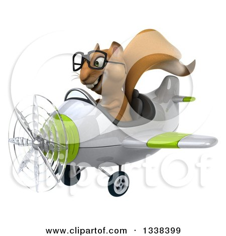 Clipart of a 3d Bespectacled Aviator Squirrel Flying a Green and White Airplane - Royalty Free Illustration by Julos