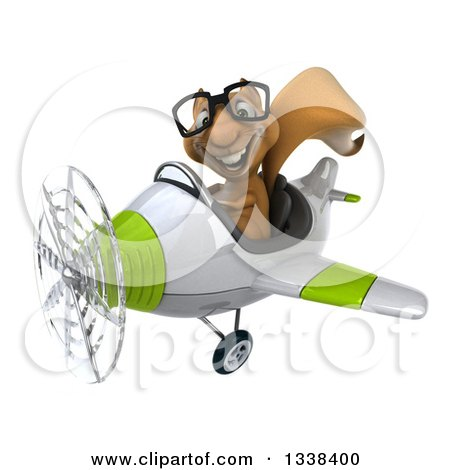 Clipart of a 3d Bespectacled Aviator Squirrel Flying a Green and White Airplane 2 - Royalty Free Illustration by Julos
