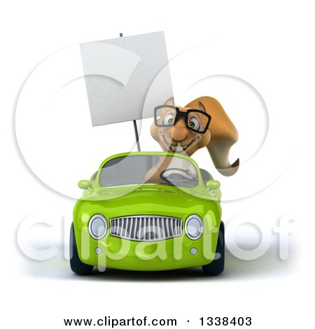 Clipart of a 3d Bespectacled Squirrel Holding a Blank Sign and Driving a Green Convertible Car 2 - Royalty Free Illustration by Julos