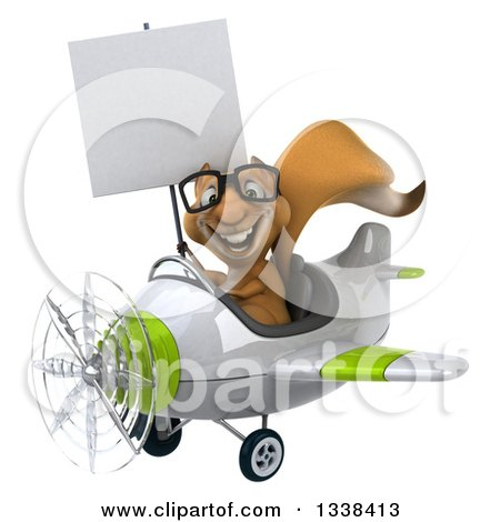 Clipart of a 3d Bespectacled Aviator Squirrel Holding a Blank Sign and Flying a Green and White Airplane - Royalty Free Illustration by Julos