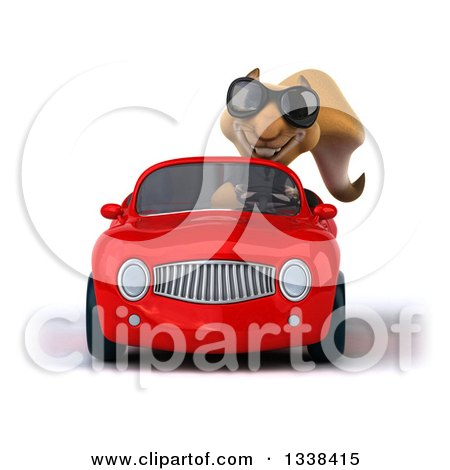 Clipart of a 3d Business Squirrel Wearing Sunglasses and Driving a Red Convertible Car - Royalty Free Illustration by Julos