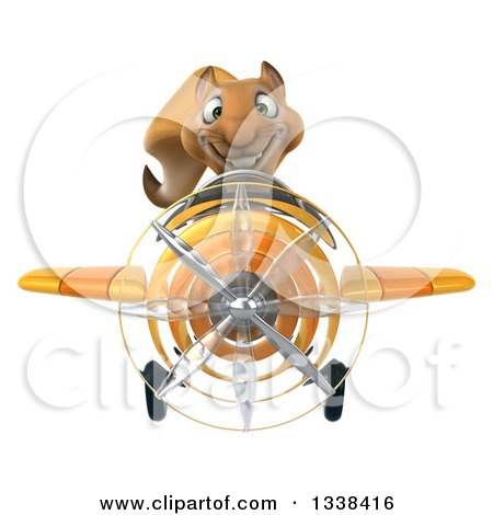 Clipart of a 3d Aviator Squirrel Flying a Yellow Airplane - Royalty Free Illustration by Julos
