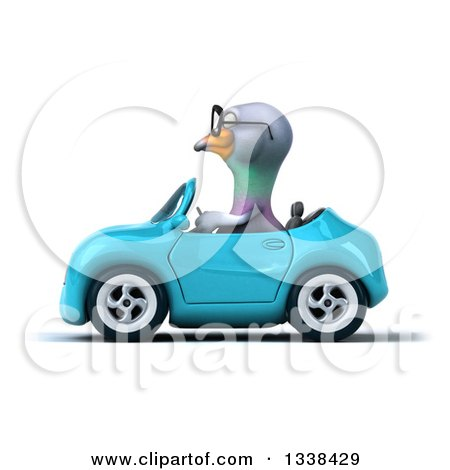 Clipart of a 3d Bespectacled Pigeon Driving a Blue Convertible Car 2 - Royalty Free Illustration by Julos