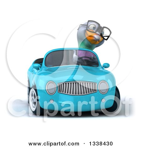 Clipart of a 3d Bespectacled Pigeon Driving a Blue Convertible Car - Royalty Free Illustration by Julos