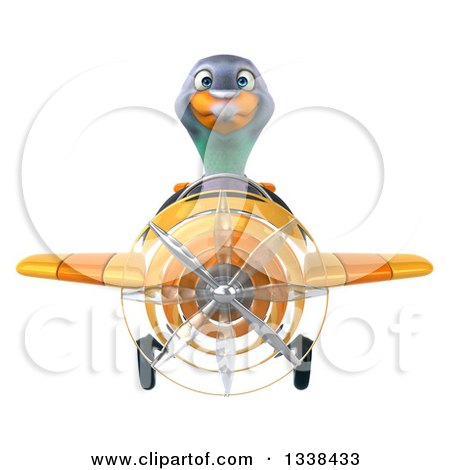Clipart of a 3d Aviator Pigeon Flying a Yellow Airplane - Royalty Free Illustration by Julos