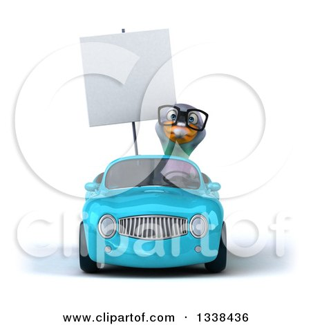 Clipart of a 3d Bespectacled Pigeon Holding a Blank Sign and Driving a Blue Convertible Car - Royalty Free Illustration by Julos