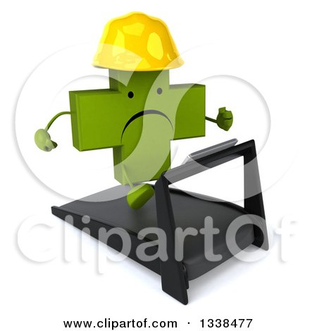 Clipart of a 3d Unhappy Green Contractor Naturopathic Cross Character Running on a Treadmill 2 - Royalty Free Illustration by Julos