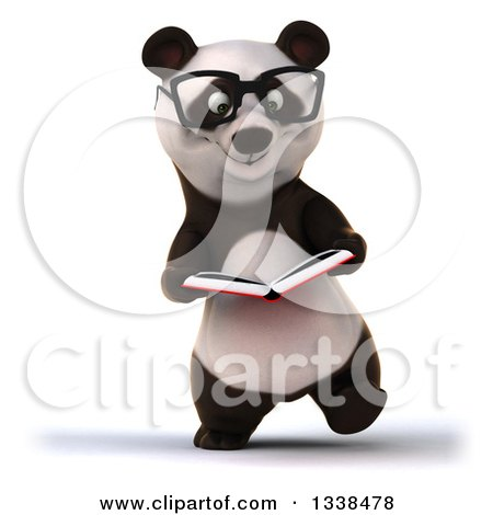 Clipart of a 3d Bespectacled Business Panda Walking and Reading a Book - Royalty Free Illustration by Julos