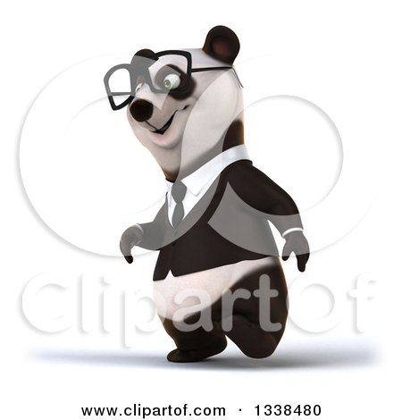 Clipart of a 3d Bespectacled Business Panda Walking to the Left - Royalty Free Illustration by Julos