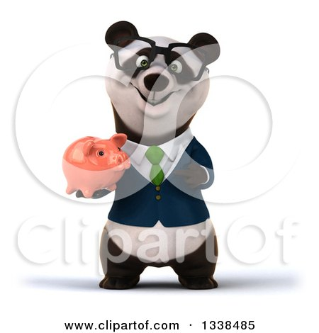 Clipart of a 3d Bespectacled Business Panda in a Green Tie, Holding a Piggy Bank - Royalty Free Illustration by Julos
