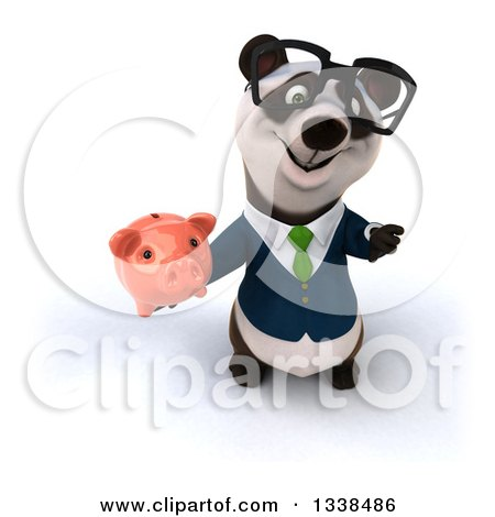 Clipart of a 3d Bespectacled Business Panda in a Green Tie, Holding up a Thumb down and a Piggy Bank - Royalty Free Illustration by Julos