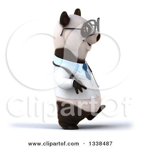 Clipart of a 3d Bespectacled Doctor or Veterinarian Panda Walking to the Right - Royalty Free Illustration by Julos