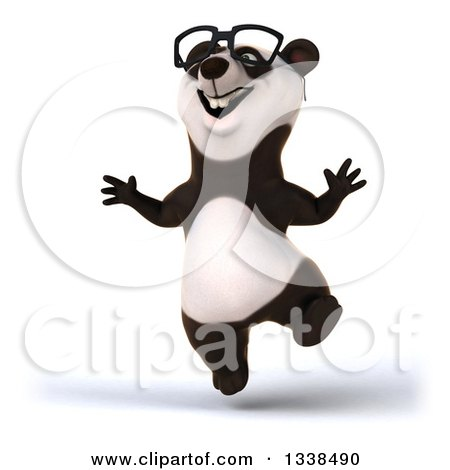 Clipart of a 3d Happy Bespectacled Panda Jumping - Royalty Free Illustration by Julos