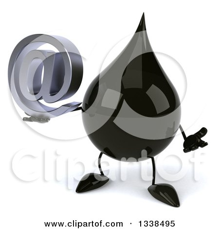 Clipart of a 3d Oil Drop Character Shrugging and Holding an Email Arobase at Symbol - Royalty Free Illustration by Julos