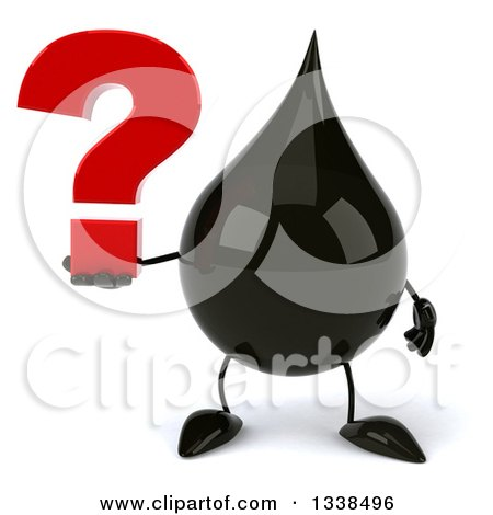 Clipart of a 3d Oil Drop Character Holding a Question Mark - Royalty Free Illustration by Julos