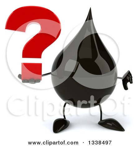Clipart of a 3d Oil Drop Character Holding a Question Mark and Giving a Thumb down - Royalty Free Illustration by Julos
