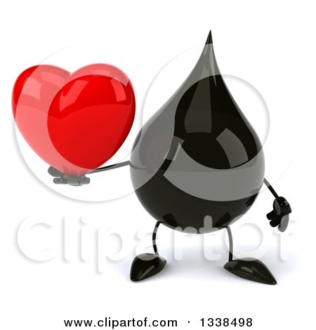 Clipart of a 3d Oil Drop Character Holding a Heart - Royalty Free Illustration by Julos