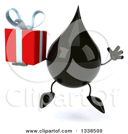 Clipart of a 3d Oil Drop Character Jumping and Holding a Gift - Royalty Free Illustration by Julos