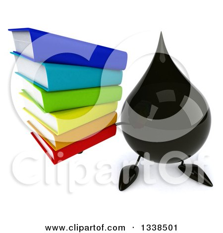 Clipart of a 3d Oil Drop Character Holding up a Stack of Books - Royalty Free Illustration by Julos