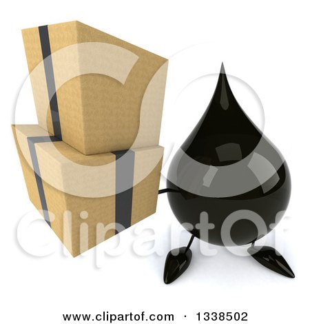 Clipart of a 3d Oil Drop Character Holding up Boxes - Royalty Free Illustration by Julos