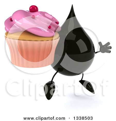 Clipart of a 3d Oil Drop Character Holding a Pink Frosted Cupcake, Facing Slightly Right and Jumping - Royalty Free Illustration by Julos