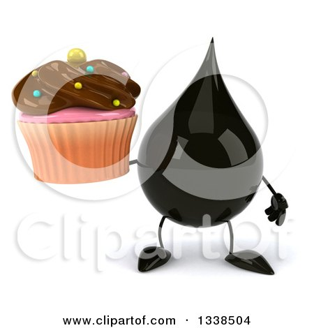 Clipart of a 3d Oil Drop Character Holding a Chocolate Frosted Cupcake - Royalty Free Illustration by Julos