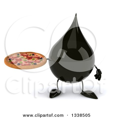 Clipart of a 3d Oil Drop Character Holding a Pizza - Royalty Free Illustration by Julos