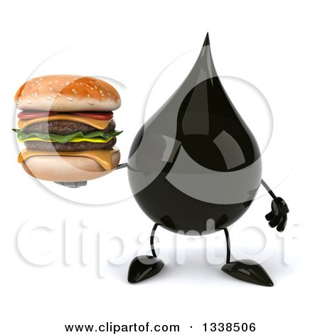 Clipart of a 3d Oil Drop Character Holding a Double Cheeseburger - Royalty Free Illustration by Julos