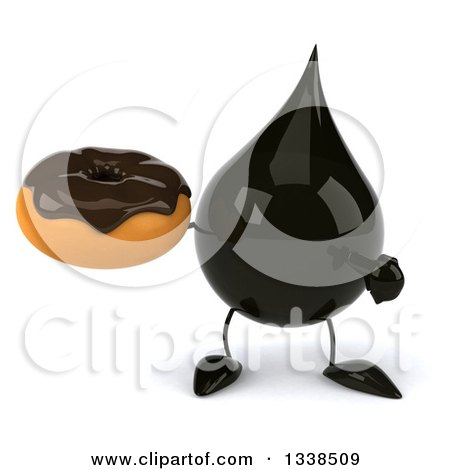 Clipart of a 3d Oil Drop Character Holding and Pointing to a Chocolate Glazed Donut - Royalty Free Illustration by Julos