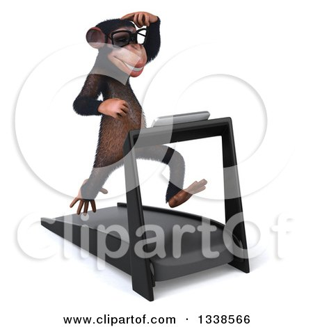 Clipart of a 3d Bespectacled Chimpanzee Monkey Scratching His Head and Running on a Treadmill - Royalty Free Illustration by Julos