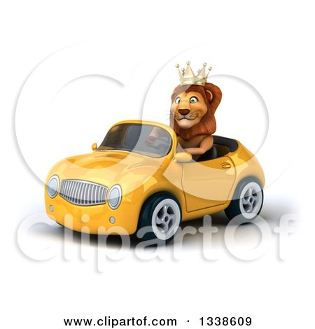 Clipart of a 3d Male Lion King Driving a Yellow Convertible Car 3 - Royalty Free Illustration by Julos