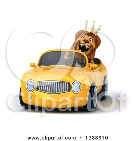 Clipart of a 3d Male Lion King Roaring and Driving a Yellow Convertible Car - Royalty Free Illustration by Julos