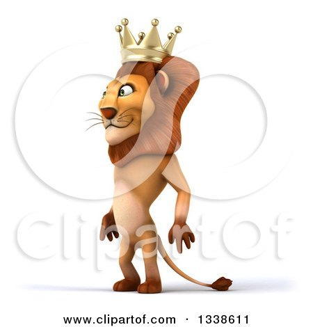 Clipart of a 3d Male Lion King Facing Slightly Left - Royalty Free Illustration by Julos