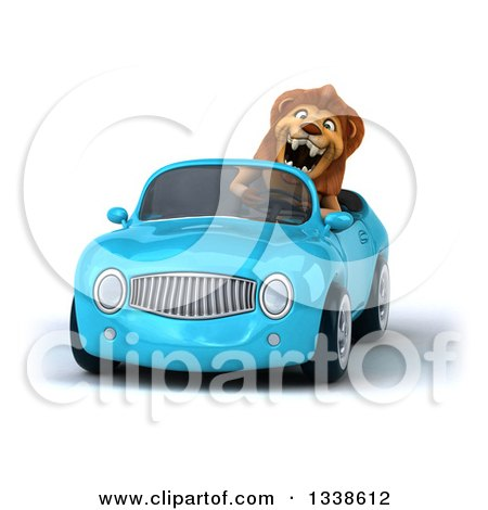 Clipart of a 3d Excited Male Lion Driving a Blue Convertible Car - Royalty Free Illustration by Julos
