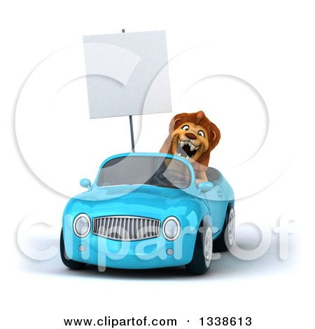 Clipart of a 3d Male Lion Holding a Blank Sign, Roaring and Driving a Blue Convertible Car - Royalty Free Illustration by Julos