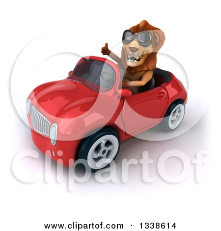 Clipart of a 3d Male Lion Wearing Sunglasses, Giving a Thumb up and Driving a Red Convertible Car - Royalty Free Illustration by Julos