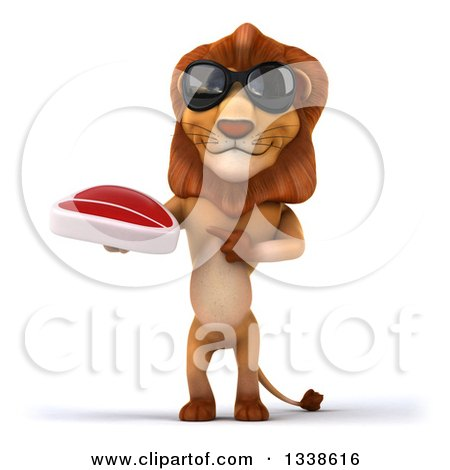 Clipart of a 3d Male Lion Wearing Sunglasses, Holding and Pointing to a Beef Steak - Royalty Free Illustration by Julos