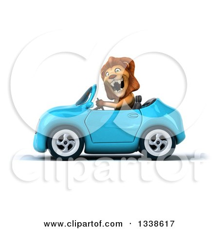 Clipart of a 3d Excited Male Lion Driving a Blue Convertible Car 2 - Royalty Free Illustration by Julos