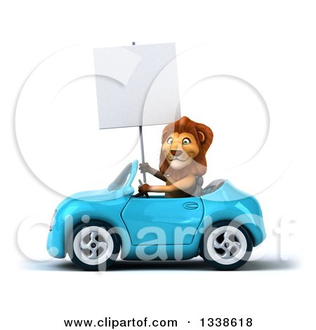 Clipart of a 3d Male Lion Holding a Blank Sign and Driving a Blue Convertible Car - Royalty Free Illustration by Julos