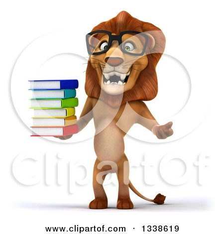 Clipart of a 3d Bespectacled Male Lion Shrugging and Holding a Stack of Books - Royalty Free Illustration by Julos