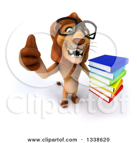 Clipart of a 3d Bespectacled Male Lion Holding up a Thumb and a Stack of Books - Royalty Free Illustration by Julos