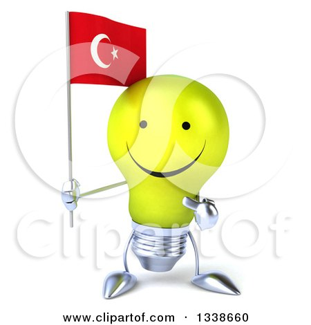 Clipart of a 3d Happy Yellow Light Bulb Character Holding and Pointing to a Turkish Flag - Royalty Free Illustration by Julos