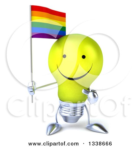 Clipart of a 3d Happy Yellow Light Bulb Character Holding and Pointing to a Rainbow Flag - Royalty Free Illustration by Julos