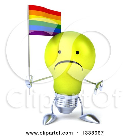 Clipart of a 3d Unhappy Yellow Light Bulb Character Holding a Rainbow Flag and Giving a Thumb down - Royalty Free Illustration by Julos