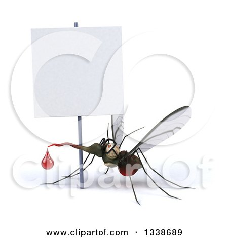 Clipart of a 3d Bespectacled Mosquito Looking up Under a Blank Sign - Royalty Free Illustration by Julos