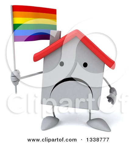 Clipart of a 3d Unhappy White House Character Holding a Rainbow Flag - Royalty Free Illustration by Julos